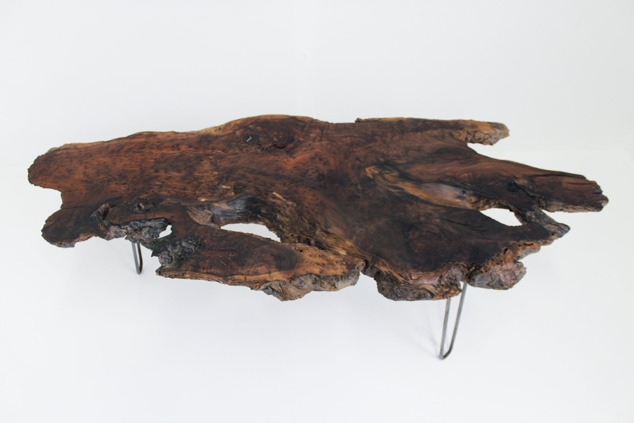 Wavy Redwood Burl Slab Coffee Table Hairpin By Mthoodwoodworks