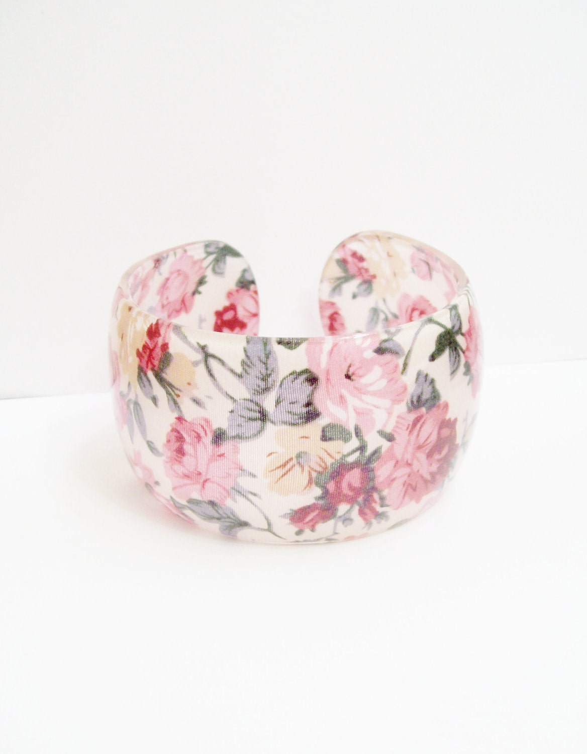 Shabby Chic Floral Cuff Bracelet, Indie Vintage Inspired, Red Yellow Flowers Pink Roses Floral Lace, Shabby Chic, Delicate Gift Idea, Resin