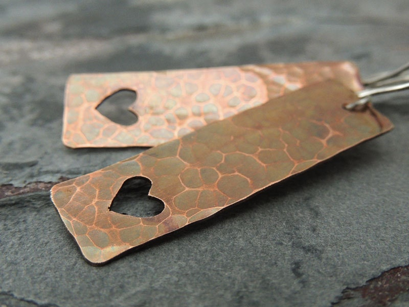 Hammered Heart Earrings, Valentine's Day, Long Rectangle Copper Shapes, Heart Cut Out, Rustic, Boho - ATwistOfWhimsy