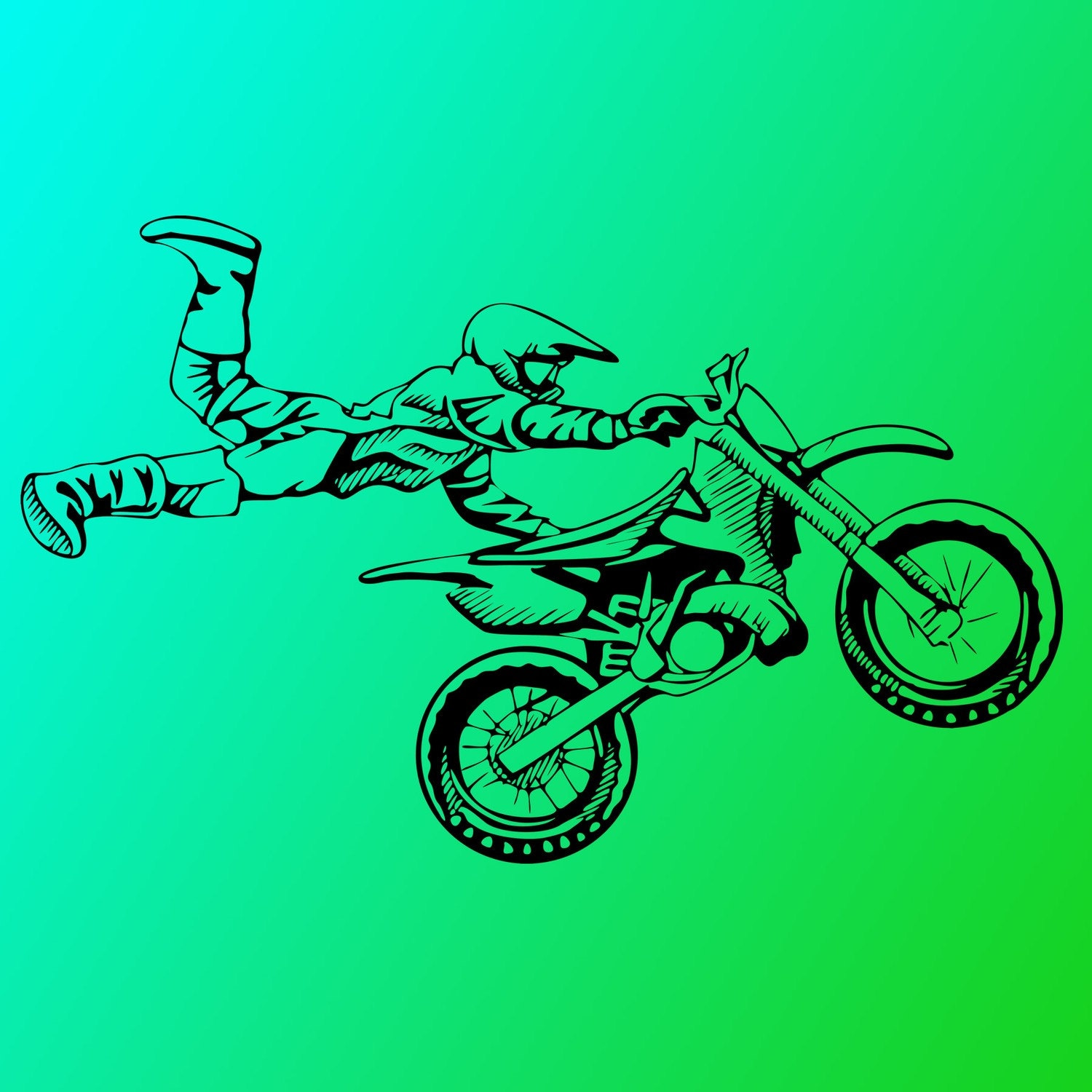 Items similar to motorcycle jump vinyl decal wall art for Dirt bike wall mural