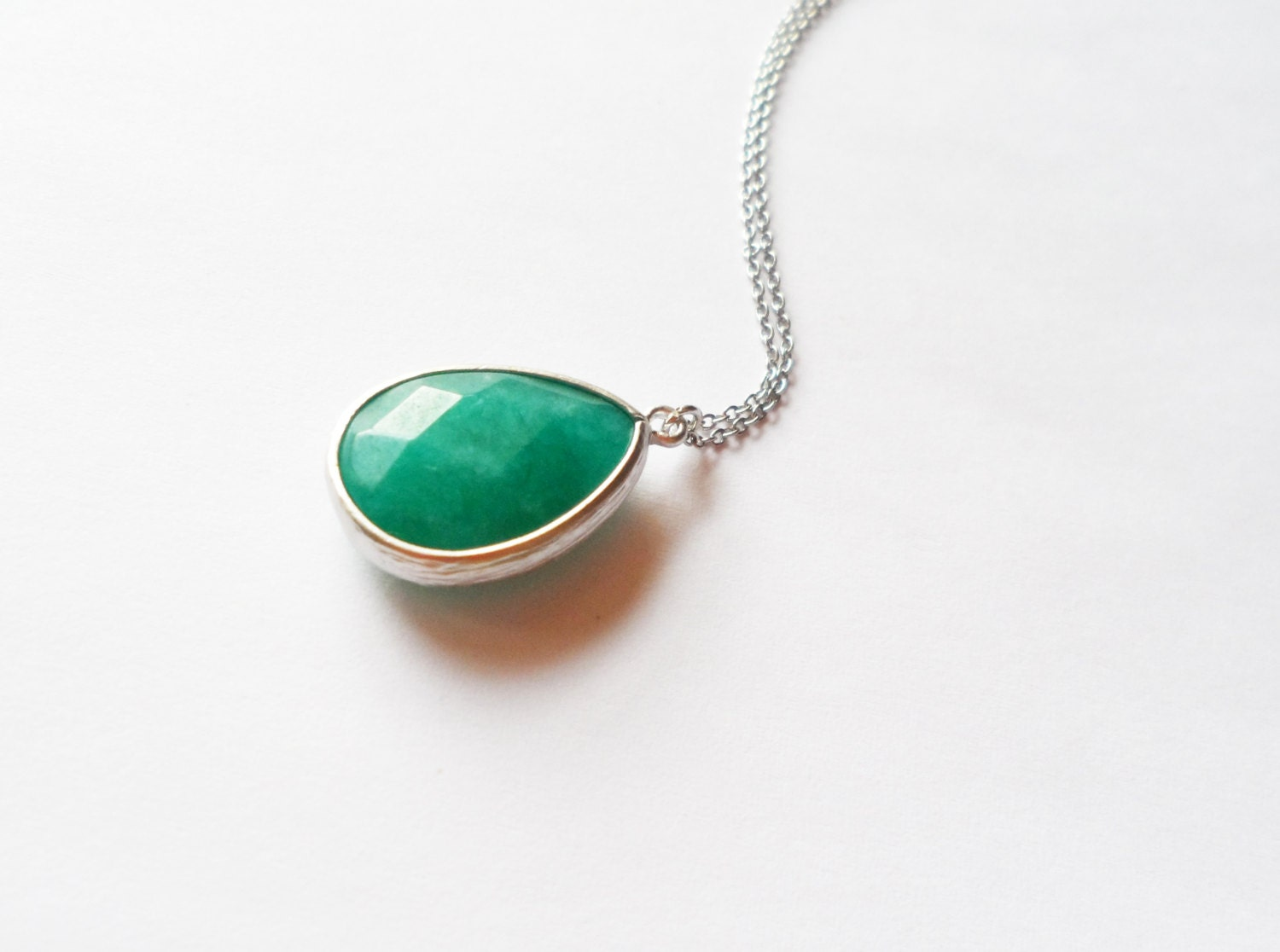 grass green drop framed gemstone necklace glossy metal dainty minimal jewerly white gold plated chain simple gift for her under 20 delicate - carnivalamigo