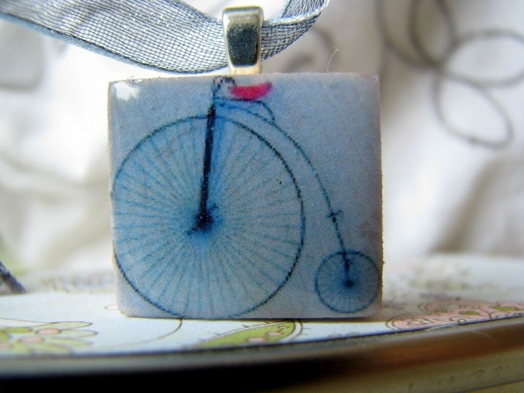 FREE PENDANT - Buy 2 Get 1 Free - Scrabble pendant, LE VELO, LE PLUS BEAU, in hand painted GIFT BOX