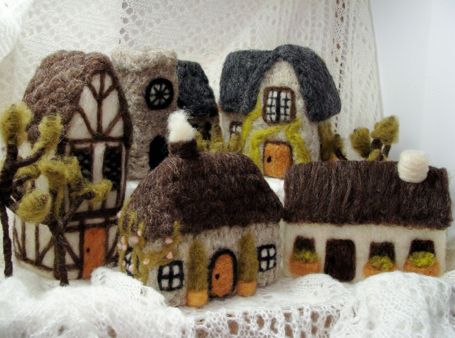 Needle Felted Medieval Village Wool Soft Sculpture