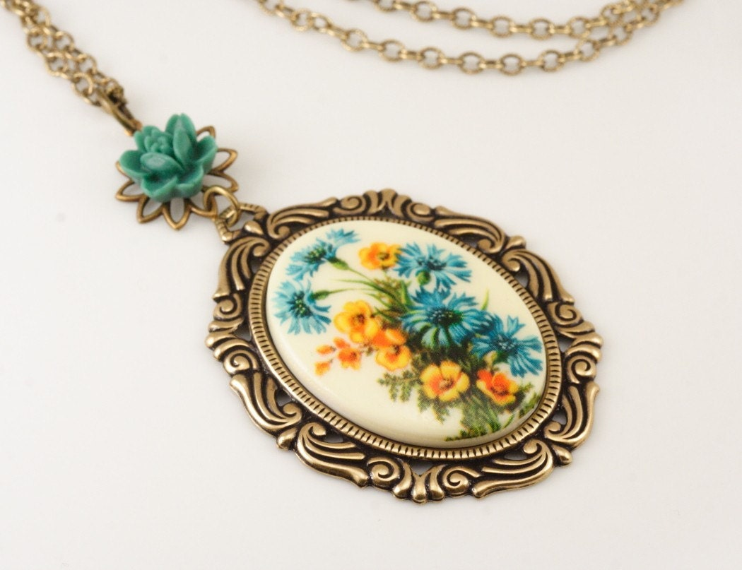 Free Shipping - Vintage Blue and Yellow Floral Cameo Necklace