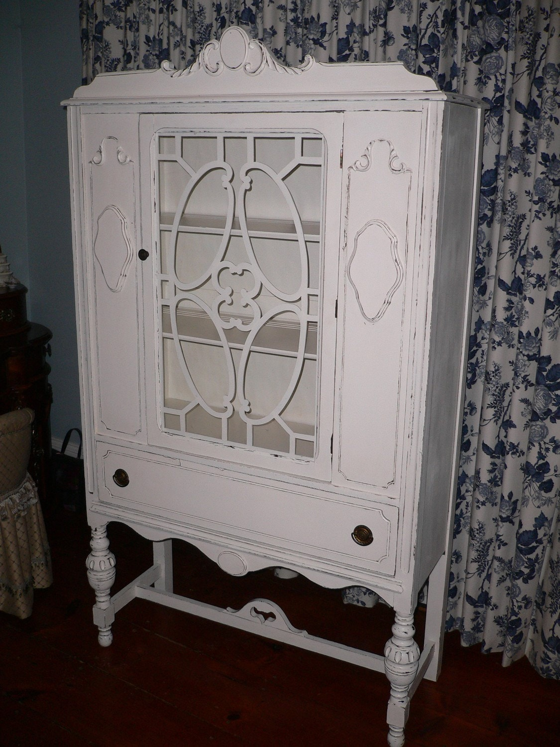 Shabby Chic China Cabinet Hutch Curio By