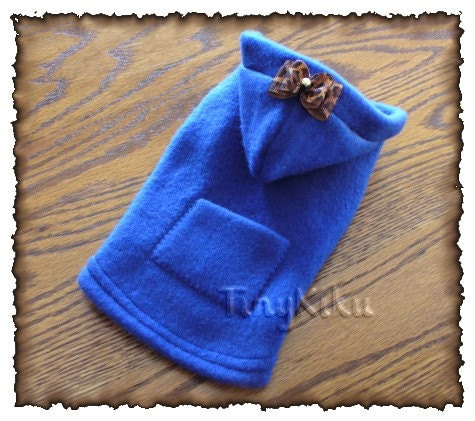 ROYAL BLUE HOODIE w/Pocket and Bow Dog Coat/Jacket or Any Color  (xxxs-xxs-xs-s-m)