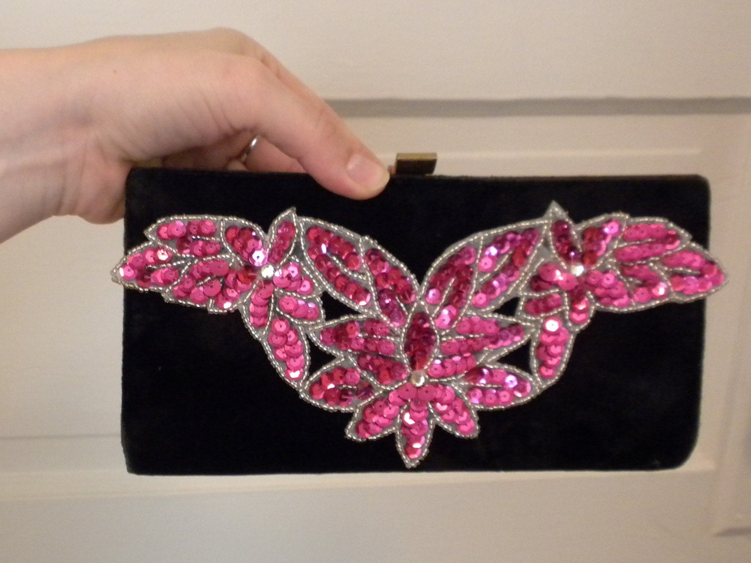 Pink sequined purse
