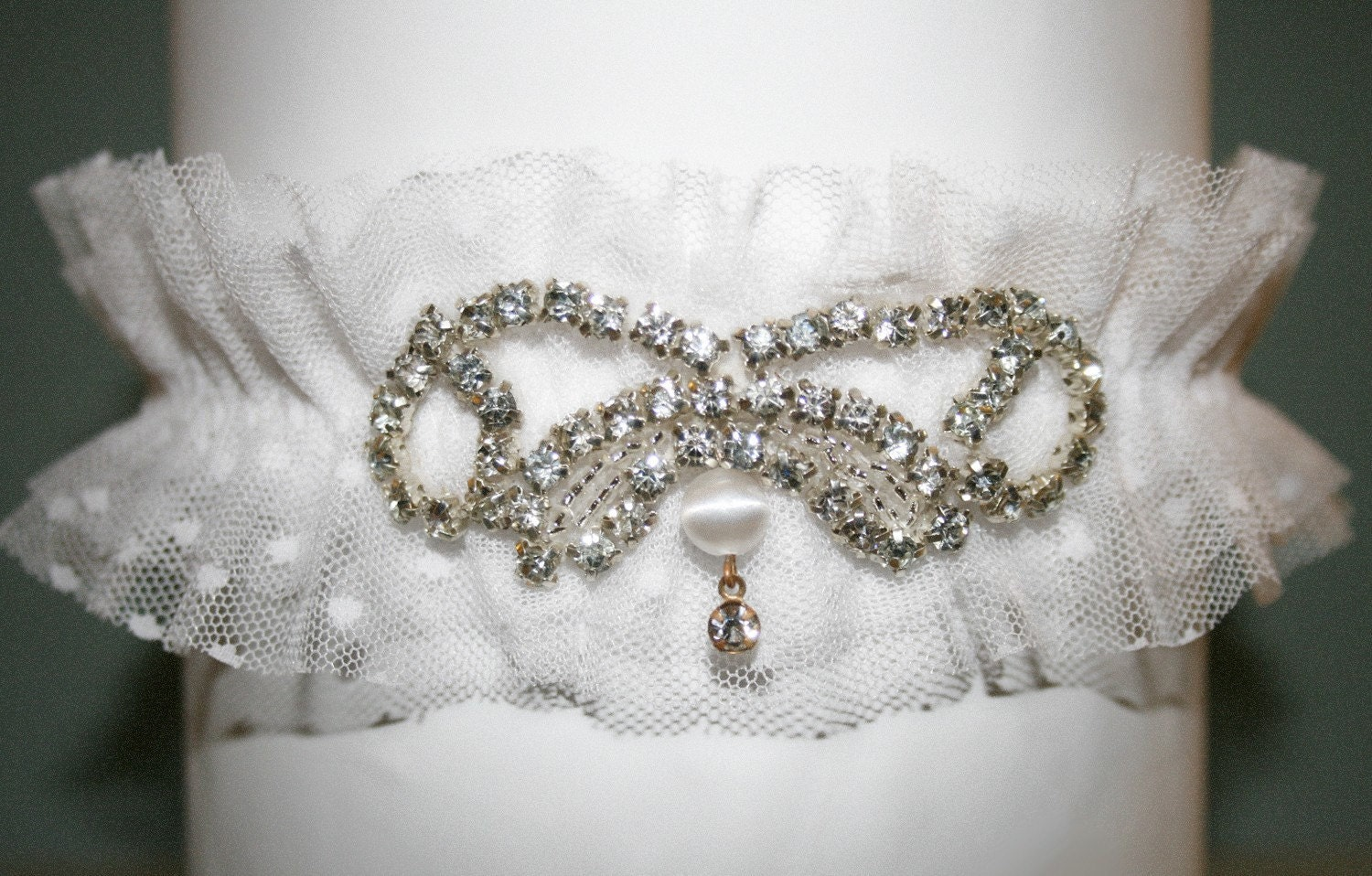 B E L L A  Soft Dotted Tulle and Rhinestone Garter
