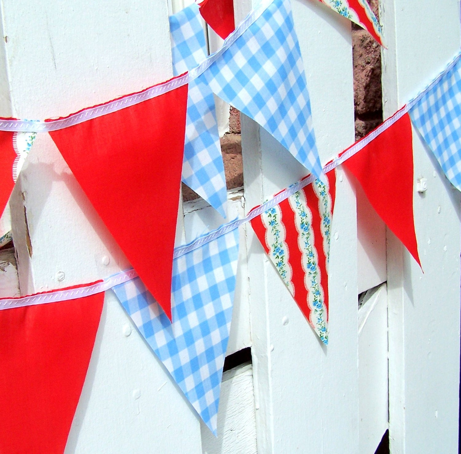 Vintage Gingham Blue, Red and White Flower Party Bunting 9 Feet