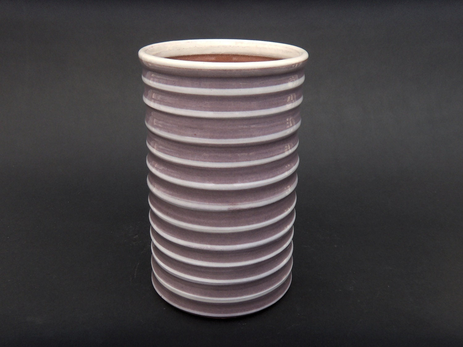 Wine Chiller - Striped Lilac and White Wine Coaster/Chiller - MiriamsKiln