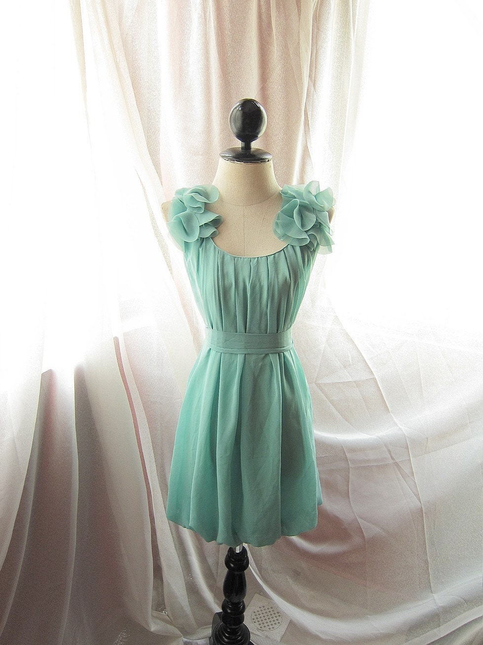 Minty Green Soft Misty Nostalgia Dreamy Romantic Havisham Mille Feuille Petal Chiffon Bubble Hem Dress