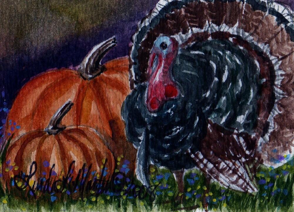Thanksgiving Turkey Watercolor Originial ffaw Fine Art