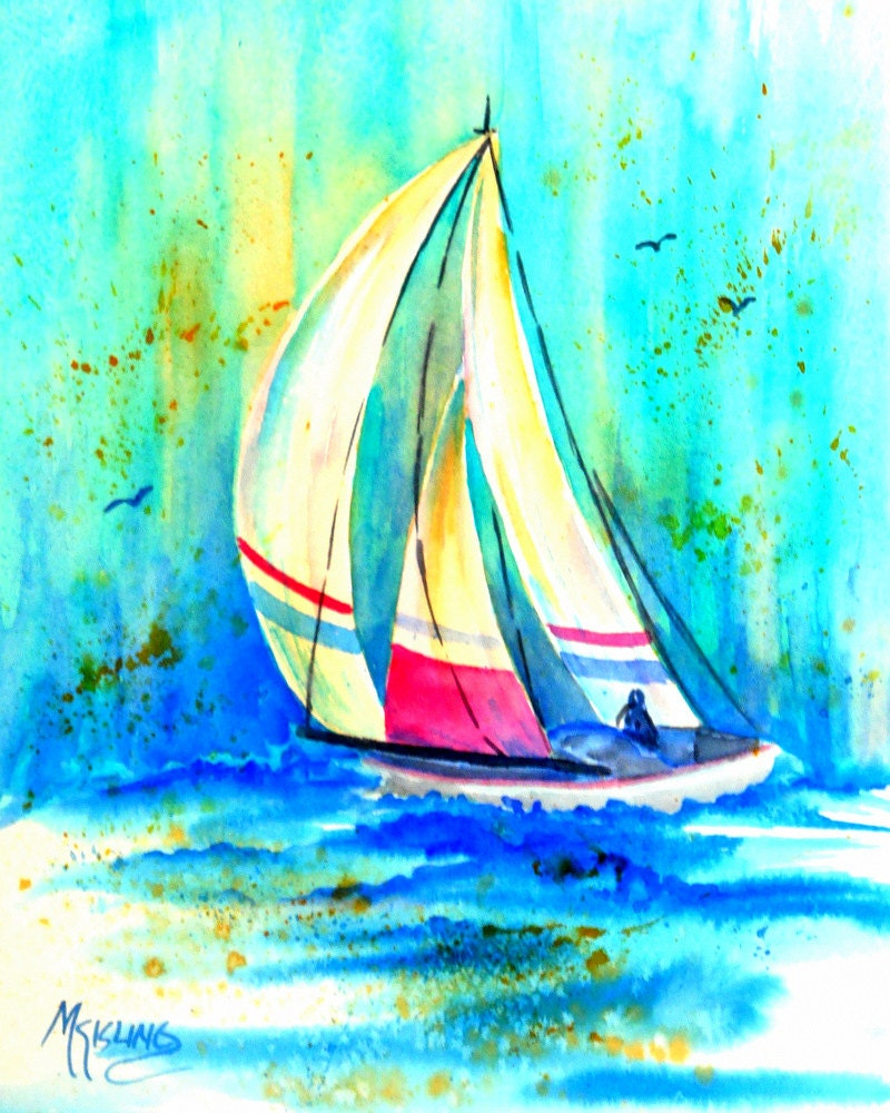 Sailboat Watercolor Painting Blue Waters By By