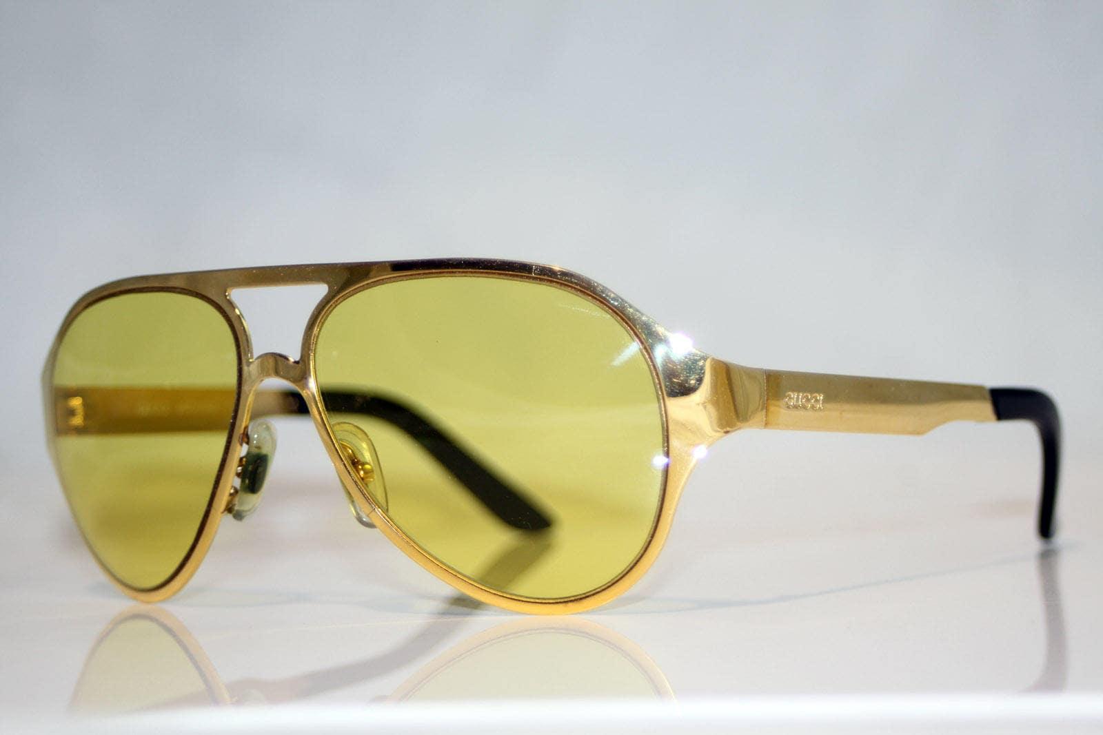 GUCCI Circa 1990 Vintage Mens Gold Aviator Sunglasses GG 1284 8EM 11257
