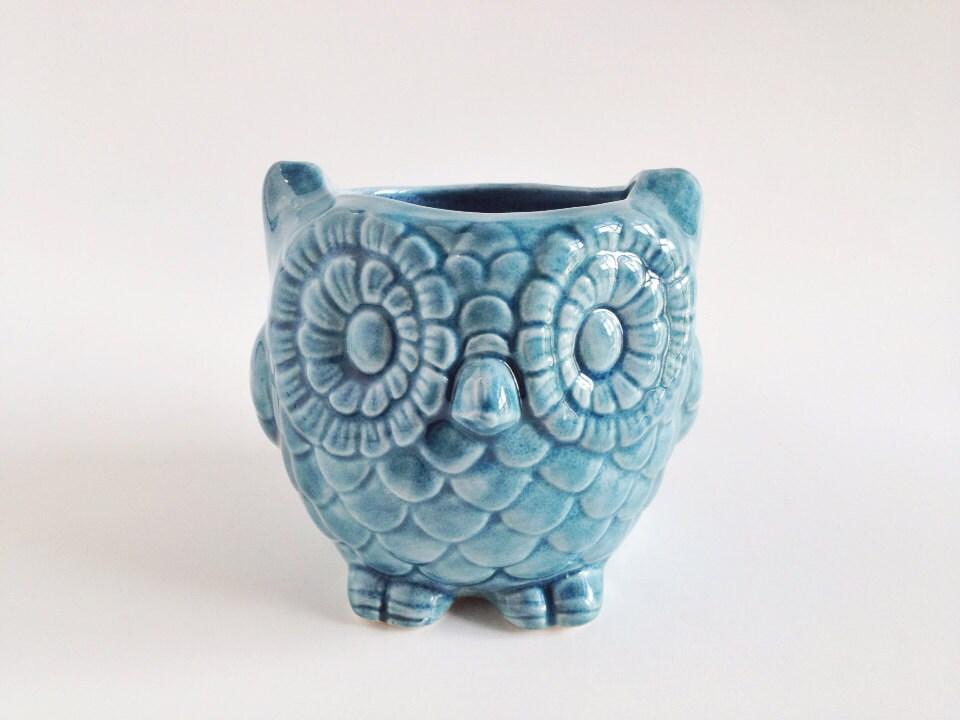 teal ceramic owl kitchen decor home decor owl planter ceramics