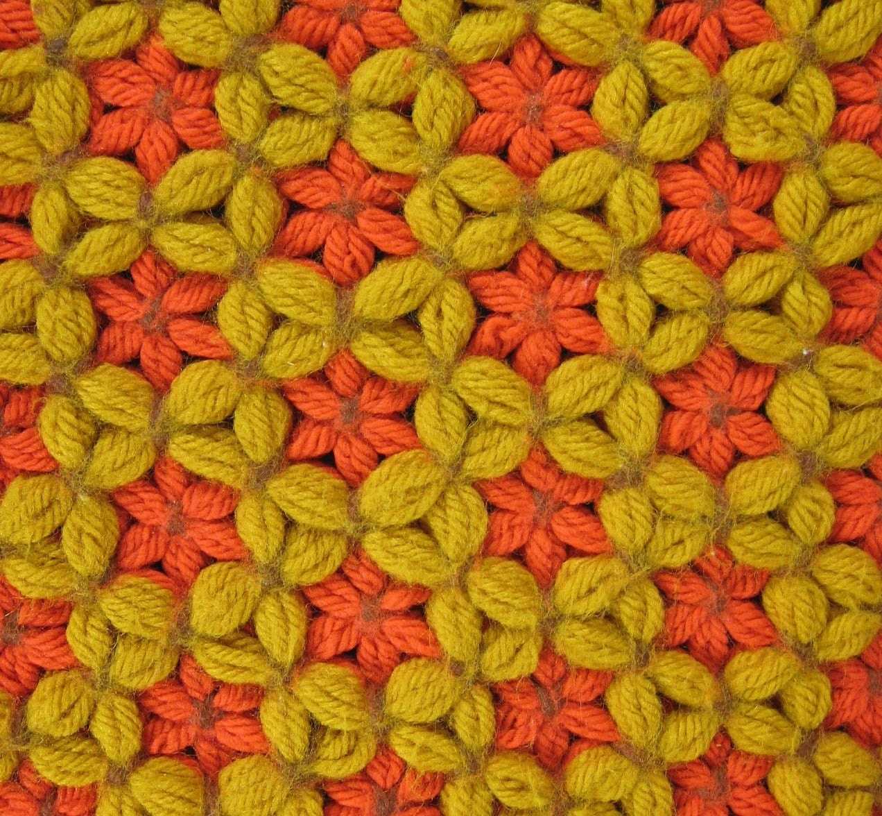 4 VINTAGE Orange and Yellow Crochet Placemats
