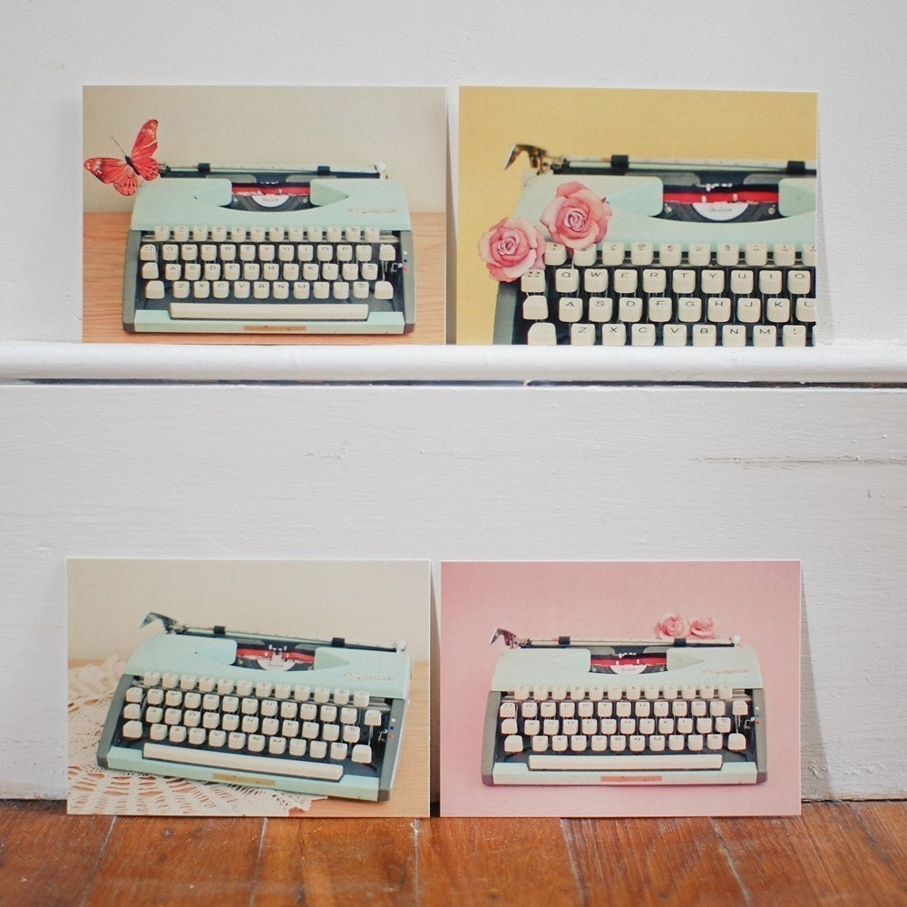 Set of Four Postcards - The Typewriter