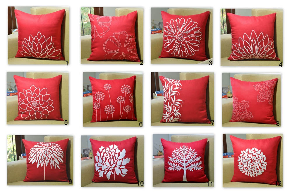 Red throw pillow cover set of 2 mix and match pillow red