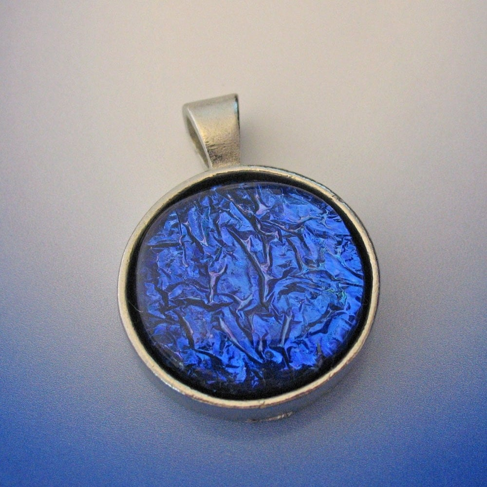 Etsy :: prizmatic :: Blue Dichroic Deep Dish Pendant from etsy.com