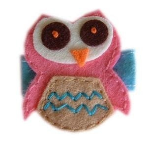 Felt Hair Clip - CUTE OWL (pink brown) ON BLUE FELT STITCH  ------ FREE HAIR BOW HOLDER WITH PURCHASE OF 10 CLIPS OR MORE