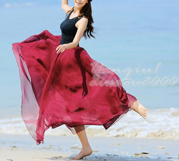 Women's Chiffon Summer Dress Dark Red High Low by dresstore2000