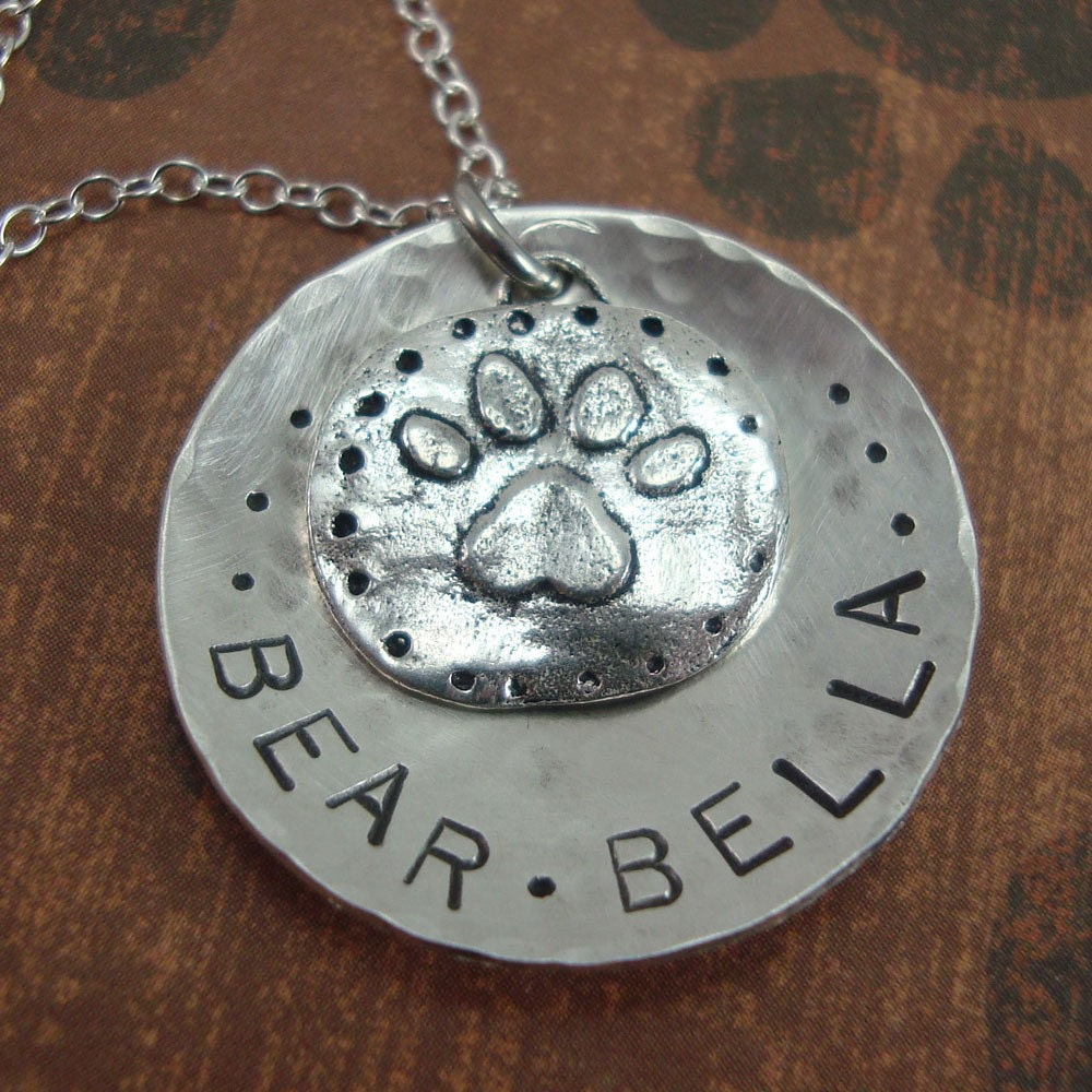 Necklace, Hand Stamped Sterling Silver Pet Owners Necklace - Big Paw