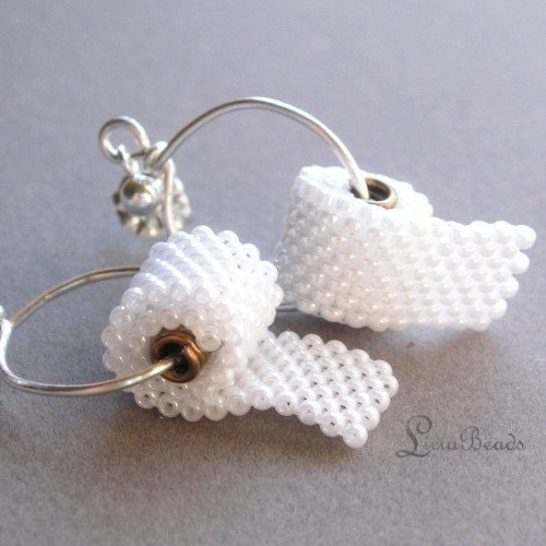beaded miniature toilet paper roll earrings hello adorable
