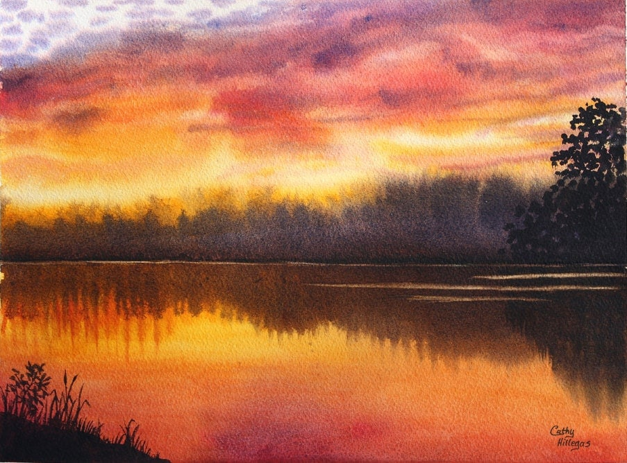 Sunset Lake Original Watercolor Painting by Cathy by ...