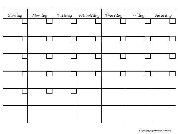 Microsoft blank month at a glance calendar search for Month at a glance blank calendar template