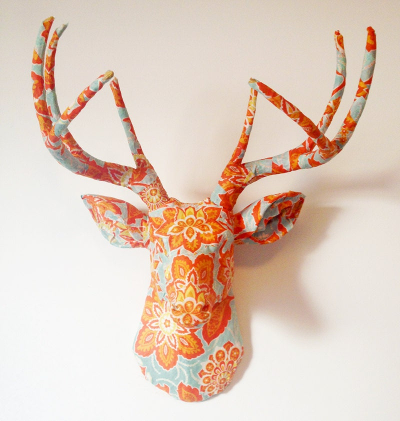 Ornate Floral Deer Head Wall Mount