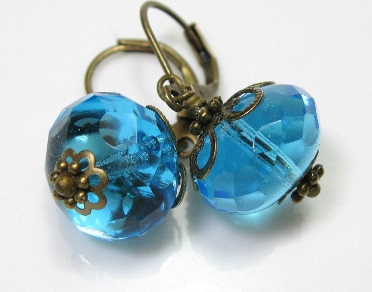 Aquamarine Czech Glass Vintage Style Earrings