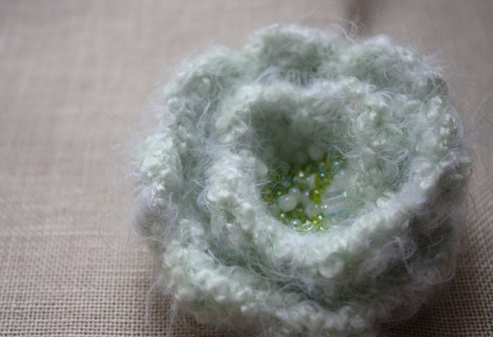 Pale Spring Green Blossom Brooch / Hand Crocheted - phydeaux