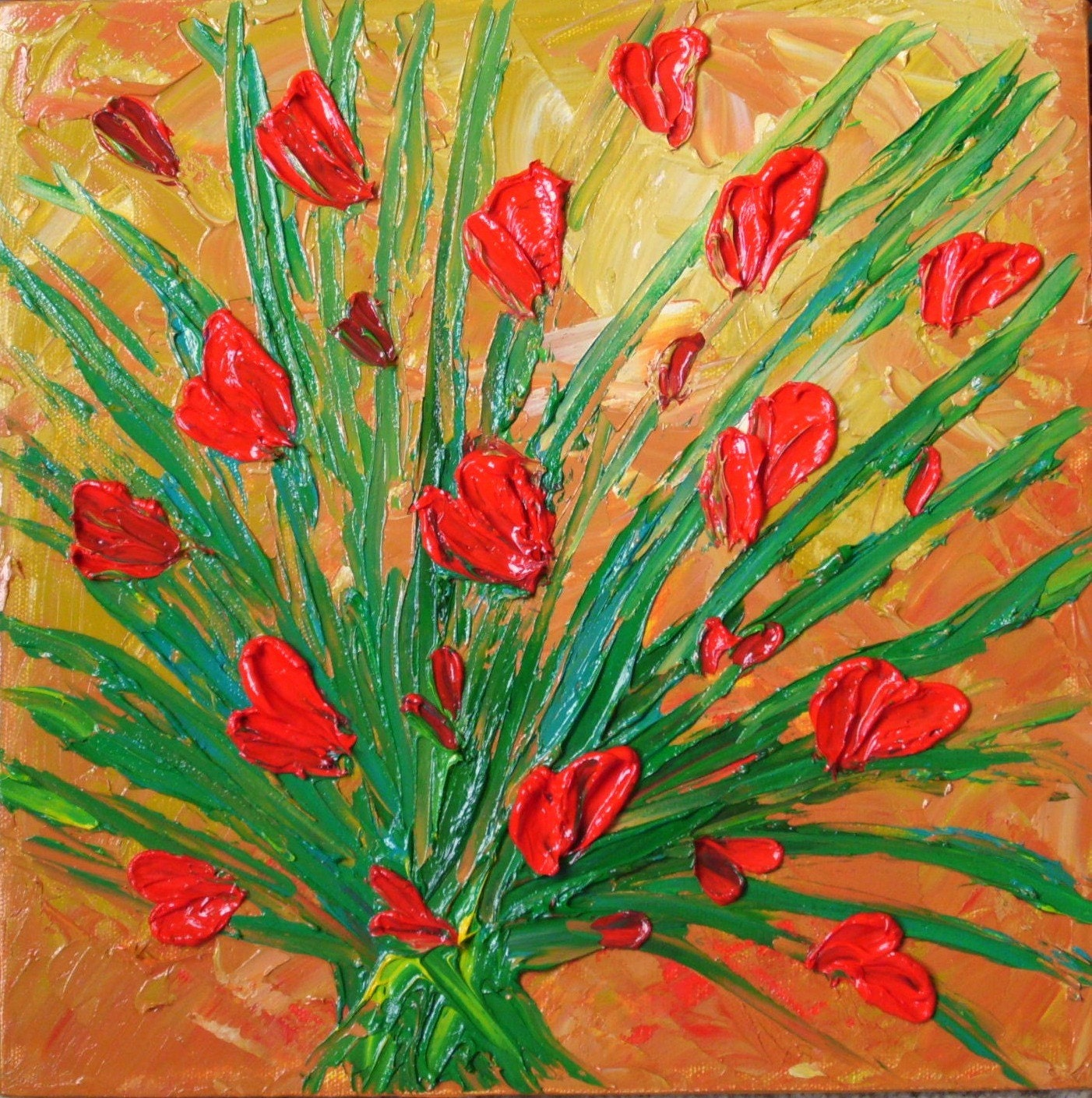 Weekend 25% Off Sale Original Impasto Textured Oil Painting on Canvas 12x12 Red Tulips