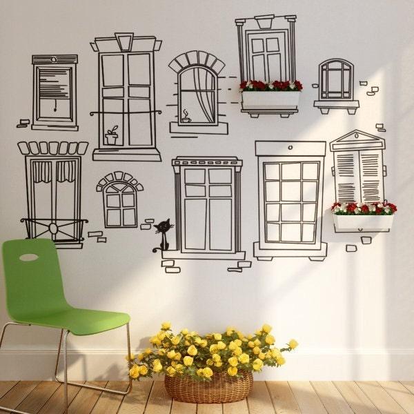 Parisian windows Wall Decal Sticker