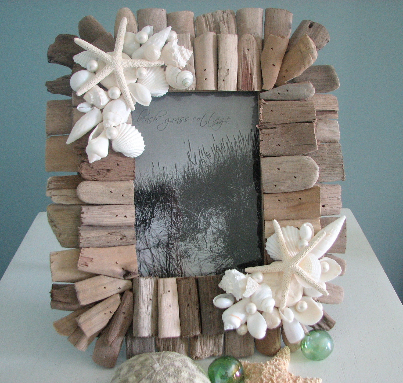 Пляж Декор Seashell Frame - Shell Рама из Driftwood и белых раковин