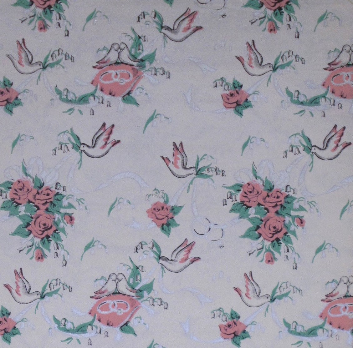 Wedding Gift Wrap : Vintage Mid-Century WEDDING Gift Wrap Wrapping Paper - DOVES Rings and ...