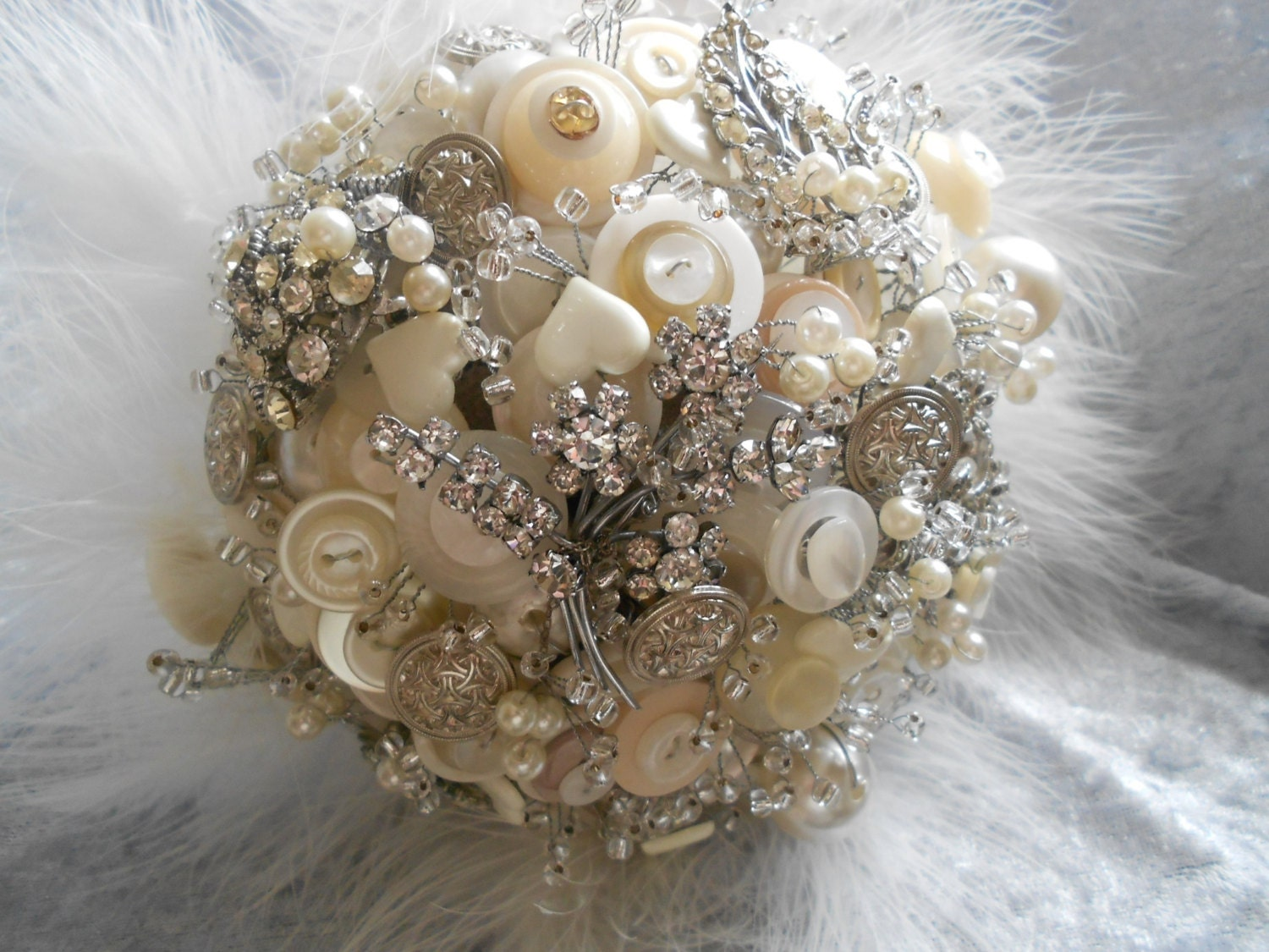 Button Bridal Bouquet Etsy : Vintage brooch and button bouquet by daisybluebuttons on etsy