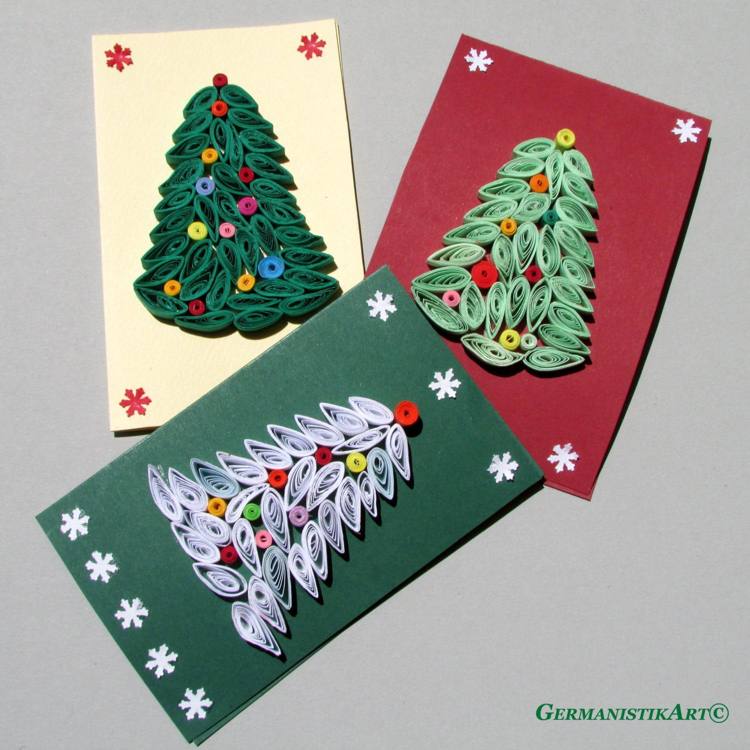 Christmas Quilling Set of 3 Quilled Paper Handmade Cards, with Christmas Tree Motifs - GermanistikArt