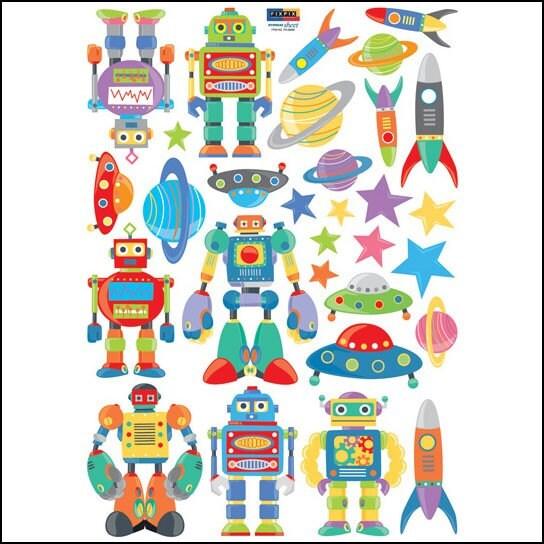 ROBOTS Decor Mural Art Wall Sticker Decals