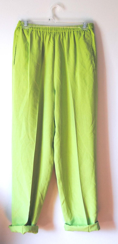 Elegant Lime Green Womens NEW Elastic Waistband Boho Cotton Leggings Pants