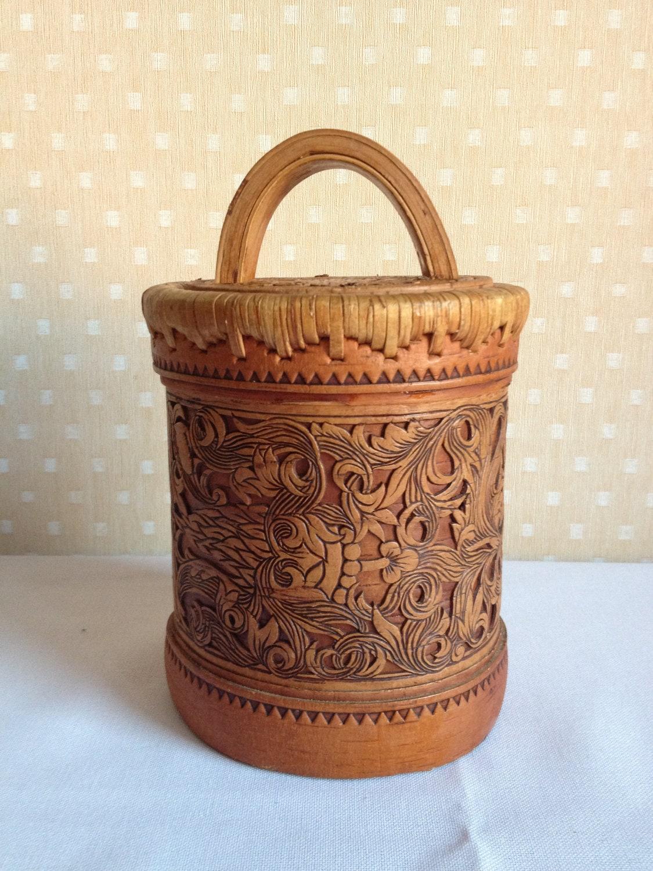 Vintage Siberian birchbark - art handmade box - brown beige - natural organic eco friendly - USSR Russia soviet - europeanstreetteam - MadeInUSSR