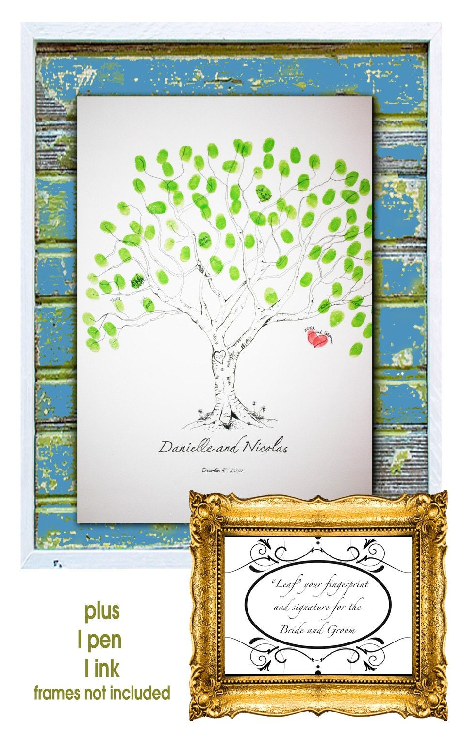 Guestbook Fingerprint Tree (The Wishing Tree 80 guests 16x20)