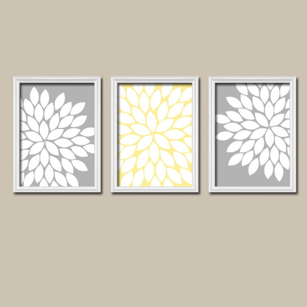 Wall Art For Grey Bedroom : Grey gray yellow flower burst dahlia bloom artwork by