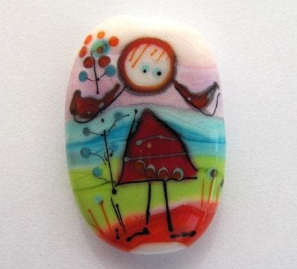 Racheli Lila - Lampwork Bead - painted collection - Dreamy Naama(1)