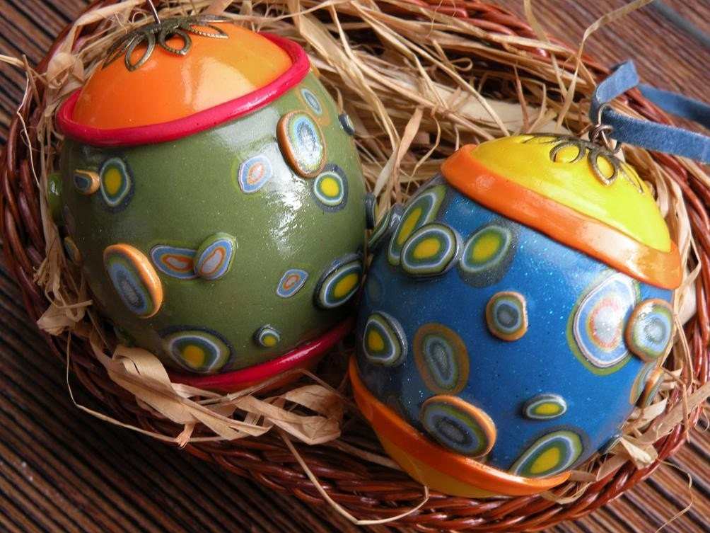 Set of  2 One-of-a-kind Handmade Egg Ornaments - Polymer Clay Over Eggshell...