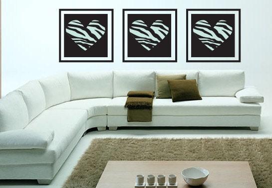 zebra print wallpaper border. Zebra Print set of 3 Hearts