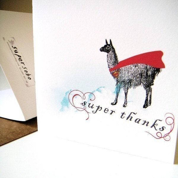 super llama - thank you card