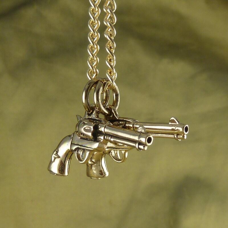 gun necklace bronze pistol pendant on 24 gold by lostapostle