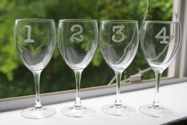 8 Numbered Wine Glasses