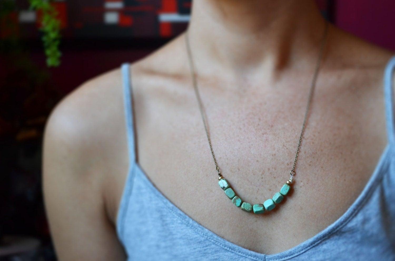 Turquoise Strand Necklace, Rectangle Stone Necklace, Earthy Turquoise Stone Necklace, Multiple Stone Necklace, Canadian Shop - LOVEnLAVISH